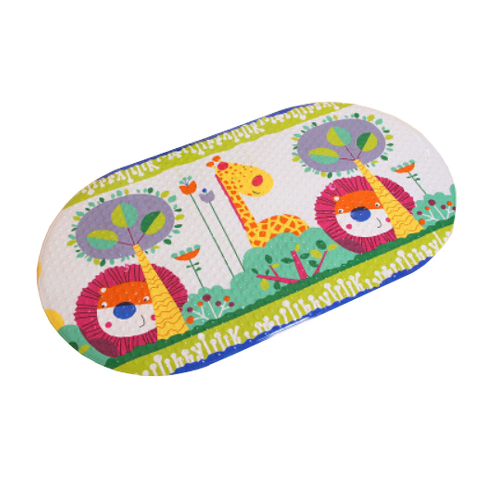 Kylin Express Lovely Hide and Seek PVC Non-Slip Bath Mat with Suction Cups White