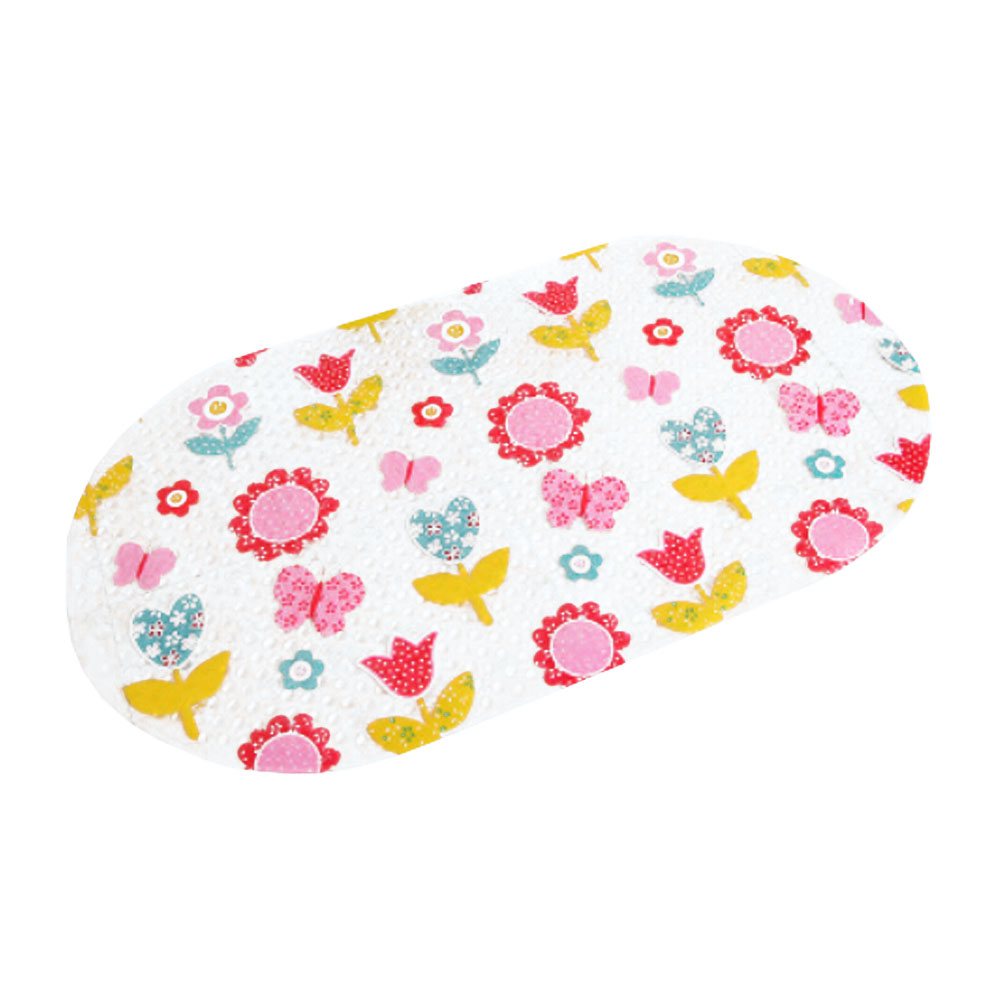 Kylin Express Lovely Butterfly and Flower PVC Non-Slip Bath Mat with Suction Cups Clear